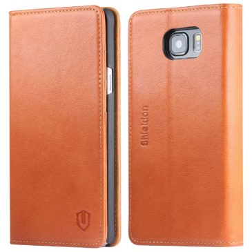 SAMSUNG Galaxy Note 5 Case, SHIELDON Genuine Leather Wallet Cases for Samsung Note 5