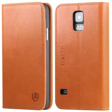SAMSUNG Galaxy S5 Leather Case – SHIELDON Genuine Leather Wallet Case with Magnetic Closure – Tan Brown