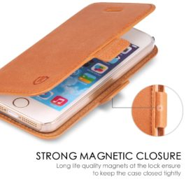 iPhone 5 Case, iPhone 5S Case, iPhone SE Wallet Case - Brown
