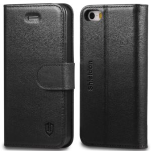 iPhone 5 Case, iPhone 5S Leather Case, iPhone SE Case - Black
