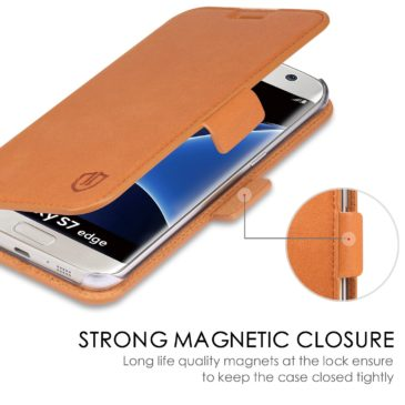 SAMSUNG Galaxy S7 Edge Case, SAMSUNG S7 Edge Case, SHIELDON Genuine Leather Wallet Case for SAMSUNG Galaxy S7 Edge with Dual Magnetic Snap – Dual Snap[Brown]