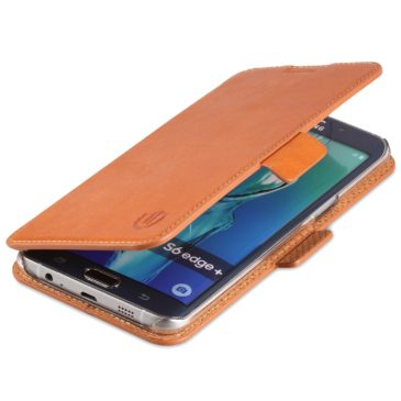 SAMSUNG Galaxy S6 Edge Plus Case, SAMSUNG S6 Edge Plus Case, SHIELDON Genuine Leather Wallet Case with Dual Magnetic Snap for SAMSUNG Galaxy S6 Edge Plus – Dual Snap[Brown]
