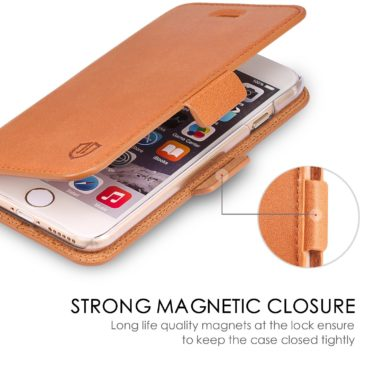 iPhone 6S Wallet Case, iPhone 6 Leather Case, SHIELDON Genuine Leather Wallet Case with Dual Snap for iPhone 6S and iPhone 6 – Dual Snap [Brown]