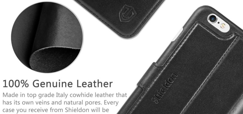 iPhone 6S Plus Leather Case, iPhone 6 Plus Leather Case, SHIELDON Genuine Leather Wallet Case with Magnetic Flip for iPhone 6S Plus and iPhone 6 Plus – Slim Snap [Black]