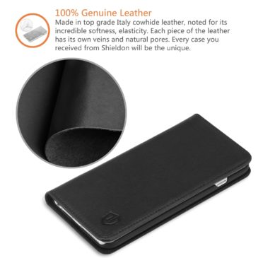 iPhone 6S Plus Wallet Case, iPhone 6 Plus Leather Case, SHIELDON Genuine Leather Wallet Case with Magnetic Closure for iPhone 6S Plus and iPhone 6 Plus – Classic [Black]