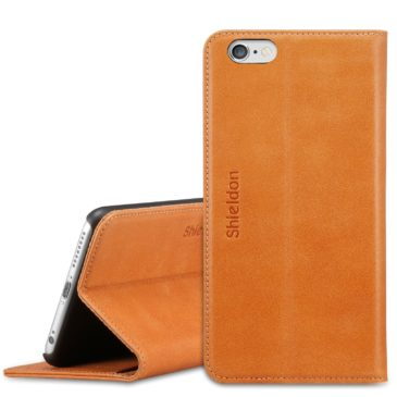 iPhone 6S Plus Case, iPhone 6 Plus Case, SHIELDON Genuine Leather Wallet Case with Magnetic Closure for iPhone 6S Plus and iPhone 6 Plus – Classic [Brown]