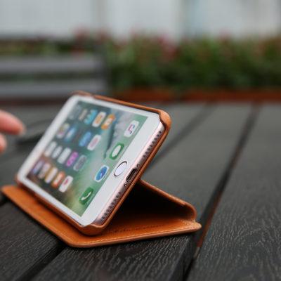 iPhone 7 Plus Wallet Case – SHIELDON Genuine Leather Wallet Case – Slim Snap [Brown]